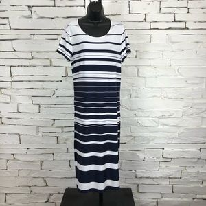Chico's Striped Short Sleeve T-Shirt Dress 1415